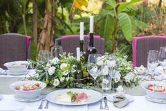 Served and decorated wedding table Stock Images