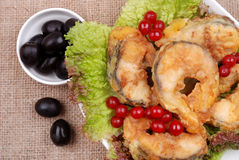 The served dish from fish, salad, olives Royalty Free Stock Photos