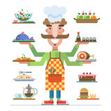 Served dishes. Meal in a restaurant. Chef offers a range of beautiful served dishes. Meal in a restaurant. Career in catering. Catering business. Vector flat Stock Images