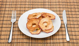 Served dried apple slices. Royalty Free Stock Image