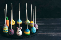 Served Easter cake pops Royalty Free Stock Images