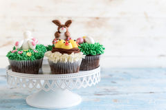 Served Easter cup cakes Royalty Free Stock Image