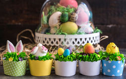 Served Easter cup cakes Stock Photos