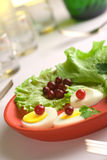 Served egg salad on a red round dish. Close up shoot stock images