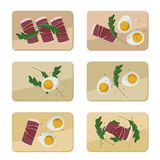Served eggs, ham and arugula. Eggs, ham and arugula served on wooden board - illustration Royalty Free Stock Photo