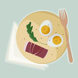 Served eggs and ham. Eggs, ham and arugula served on wooden board - illustration Royalty Free Stock Photos