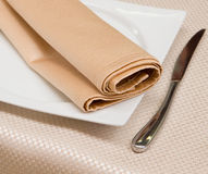Served empty plate with napkin ready for food Stock Photography