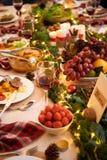 Served family dinner stock images