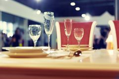 Served fashion table with glases Royalty Free Stock Images