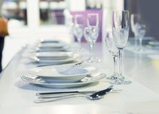 Served fashion table in white colors Stock Photo