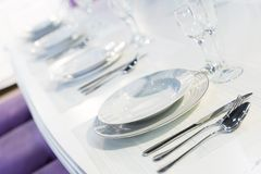 Served fashion table in white colors Royalty Free Stock Images