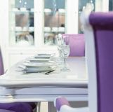 Served fashion table in white colors Stock Images