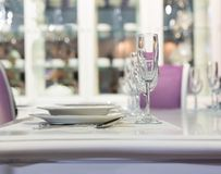 Served fashion table in white colors Royalty Free Stock Photography