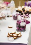 Served festive candy bar table with buiscuits Stock Image