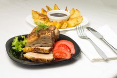 Served Food with Meat and Gilled Potato Stock Photo