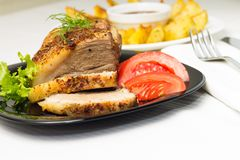 Served Food with Meat and Gilled Potato Stock Photography