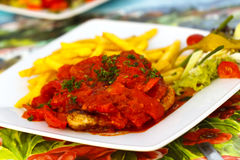 Served fresh gold meat cutlet Royalty Free Stock Photos