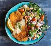 Served fried catfish fillet Stock Photo
