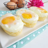 Served fried egg and bread cake Stock Photography