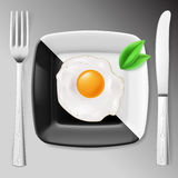 Served fried egg Royalty Free Stock Photos