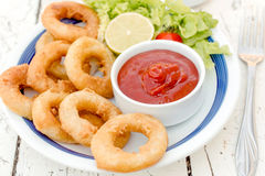 Served fried squid Stock Image
