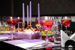 Served holiday table with different tasty dishes stock image