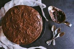 Served homemade chocolate cake Stock Photo