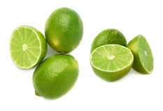 Served lime fruit composition isolated over the white background, set of different foreshortenings Stock Photography