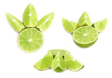 Served lime fruit composition isolated over the white background, set of different foreshortenings Royalty Free Stock Photography