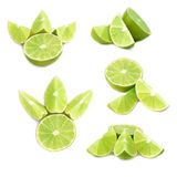 Served lime fruit composition isolated over the white background, set of different foreshortenings Stock Photo