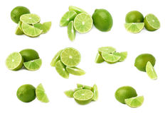 Served lime fruit composition isolated over the white background, set of different foreshortenings Royalty Free Stock Photos