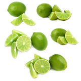 Served lime fruit composition isolated over the white background, set of different foreshortenings Stock Photos