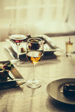 Served meal and wine Stock Photography