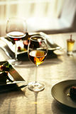 Served meal and wine Royalty Free Stock Photography