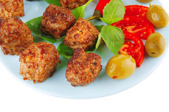 Served meat cutlets with basil Royalty Free Stock Image