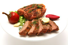 Served meat steak on dish Stock Photo