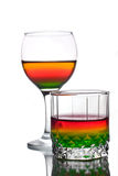 Served multicolored alcohol drinks Stock Photos
