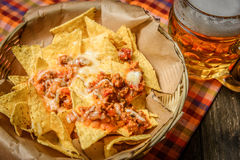 Served nachos with meat Stock Images