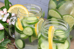 Served Naturally Flavored Cucumber water Stock Photos