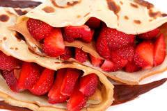 Served pancakes with strawberry and chocolate stock image