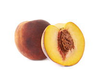 Served peach fruit composition isolated Stock Photos
