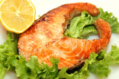 Served piece of grilled salmon steak Stock Photo