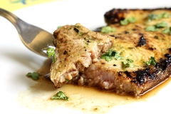 Served piece of tuna steak with greenery Royalty Free Stock Photo