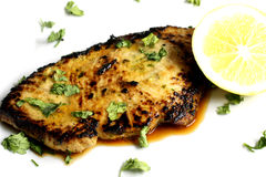 Served piece of tuna steak with greenery and lemon Stock Image