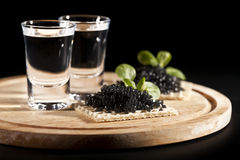 Served Place Setting: Vodka And Black Caviar Stock Images