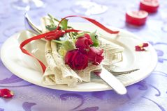 Served plate with flowers in Valentine day Royalty Free Stock Images
