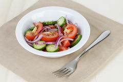 Served plate with mix salad from tomatoes and cucumbers Royalty Free Stock Photography