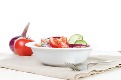 Served plate with mix salad from tomatoes and cucumbers Royalty Free Stock Image