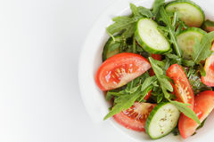 Served plate with mix salad from tomatoes and cucumbers Royalty Free Stock Images