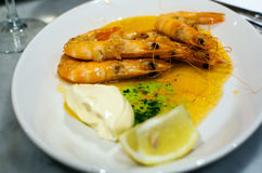 Served prawns with souse Stock Photography